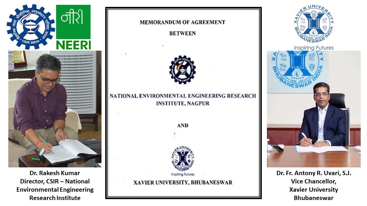 MoU between NEERI, Nagpur and Xavier University, Bhubanewar